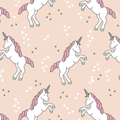 Custom Fabric - Unicorn Dreams Coral Pink