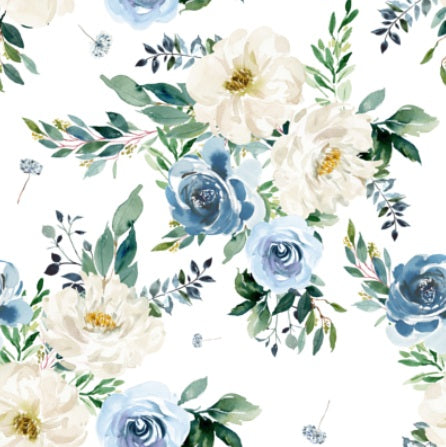 Custom Fabric - Vintage White & Blue Florals