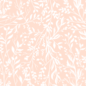 Custom Fabric - White Branches on Pale Peach