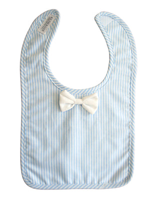 Bow Tie Bib - Blue Stripes