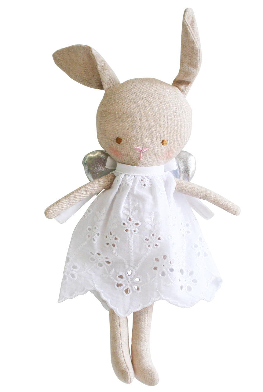 Linen Baby Angel Bunny - Silver
