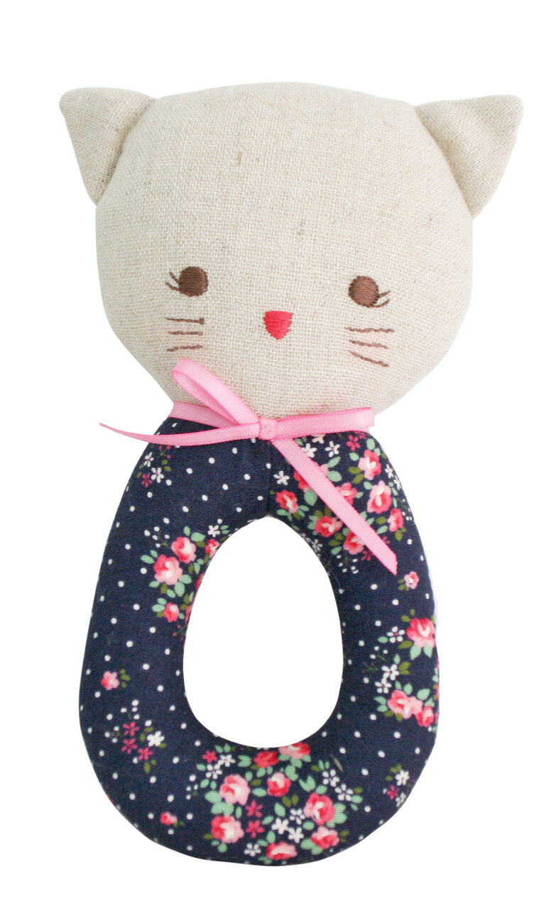 Grab Rattle - Kitty Midnight Floral