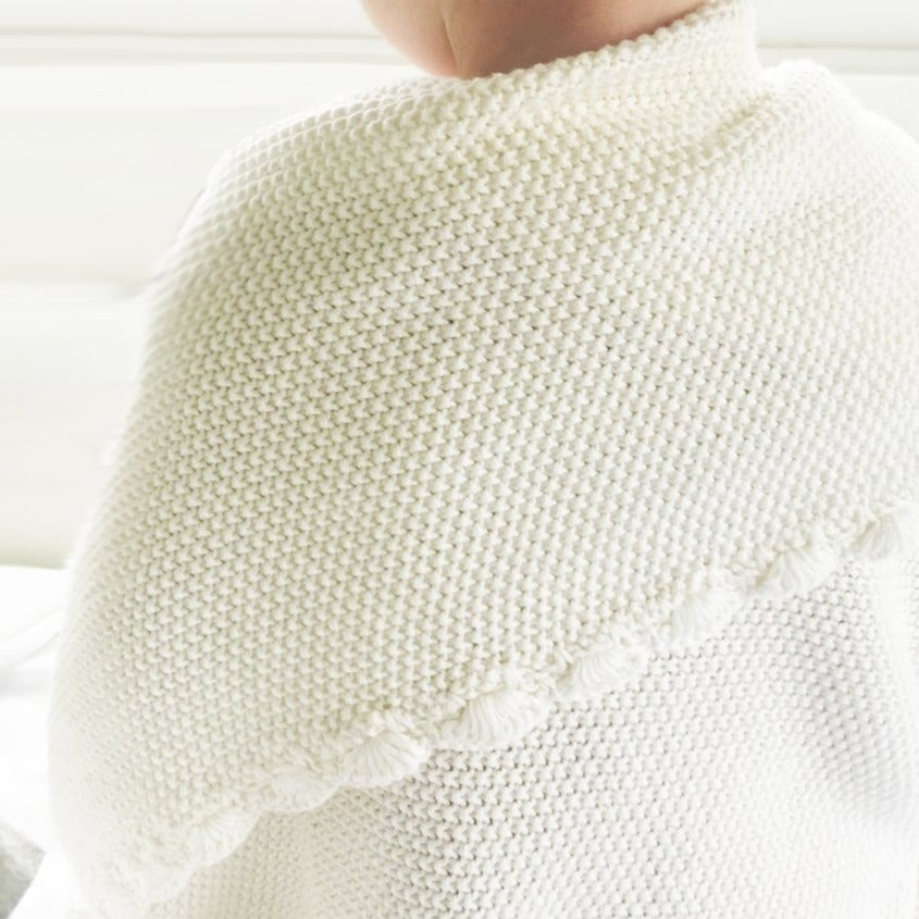 Knit Mini Moss Stitch Blanket - Ivory
