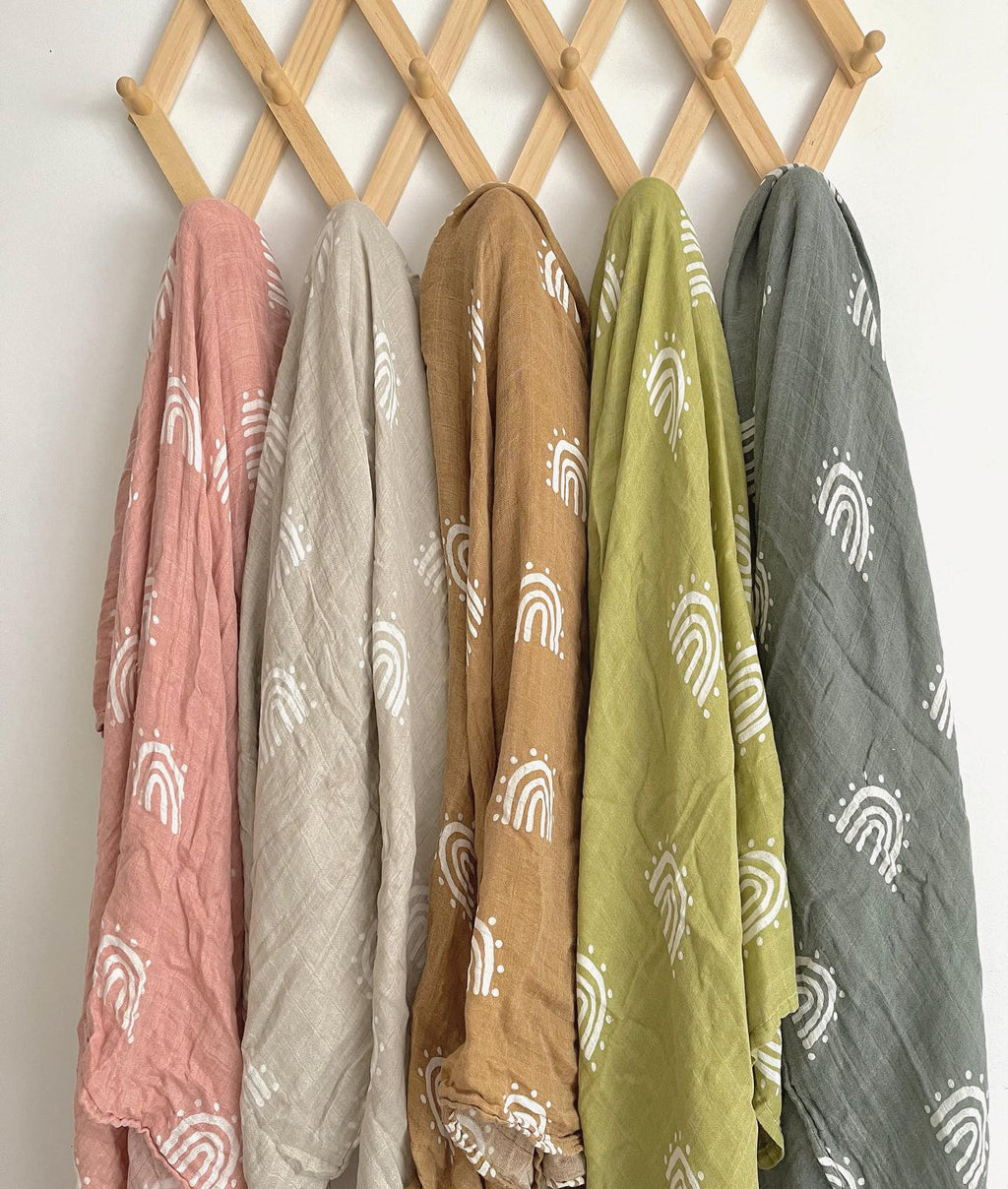 Bamboo Muslin - Over the Rainbow Olive