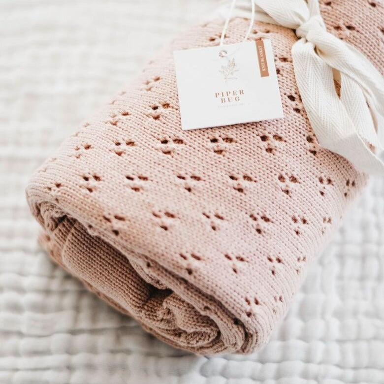 Heritage Knit Blanket - Rose
