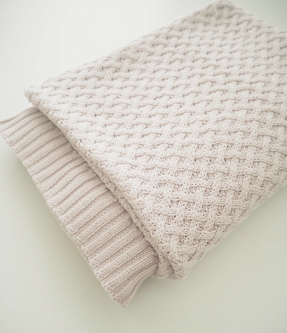 Diamond Knit Baby Blanket - Warm Grey