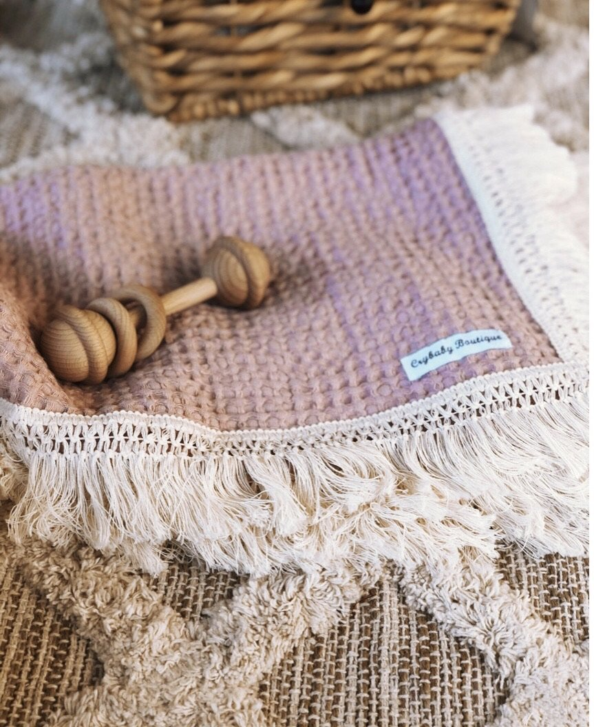 Waffle Blanket (with or without fringing) - Rose
