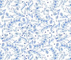 Custom Fabric - Blue Swirl Florals