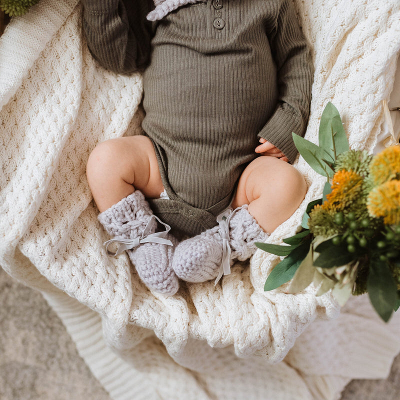 Merino Wool Baby Bonnet & Booties Set - Grey
