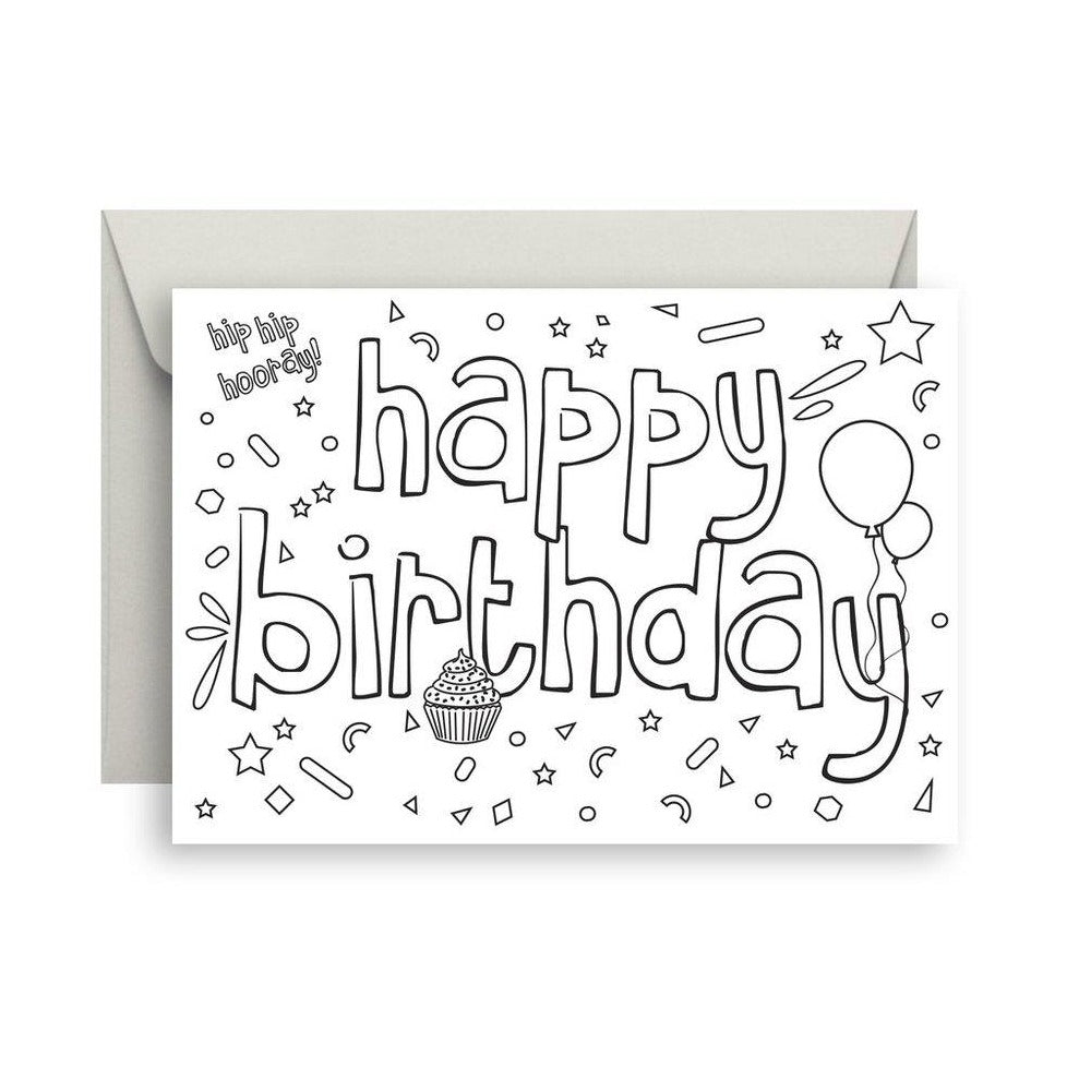 Card - 'Colour Me In' Happy Birthday