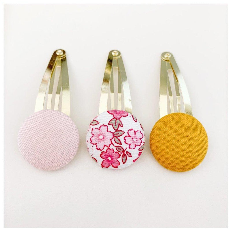 Button Clips - Light Pink/Pink Floral/Mustard