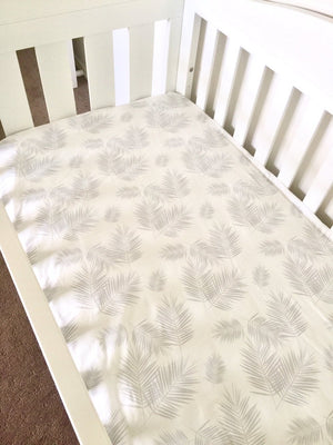Nursery Linen - Grey Palms
