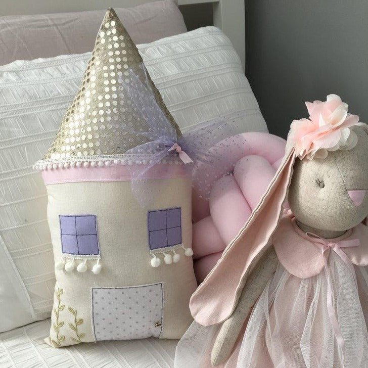 The Little Cottage Pillow - The Purple Cottage (4 WEEKS TURNAROUND TIME)