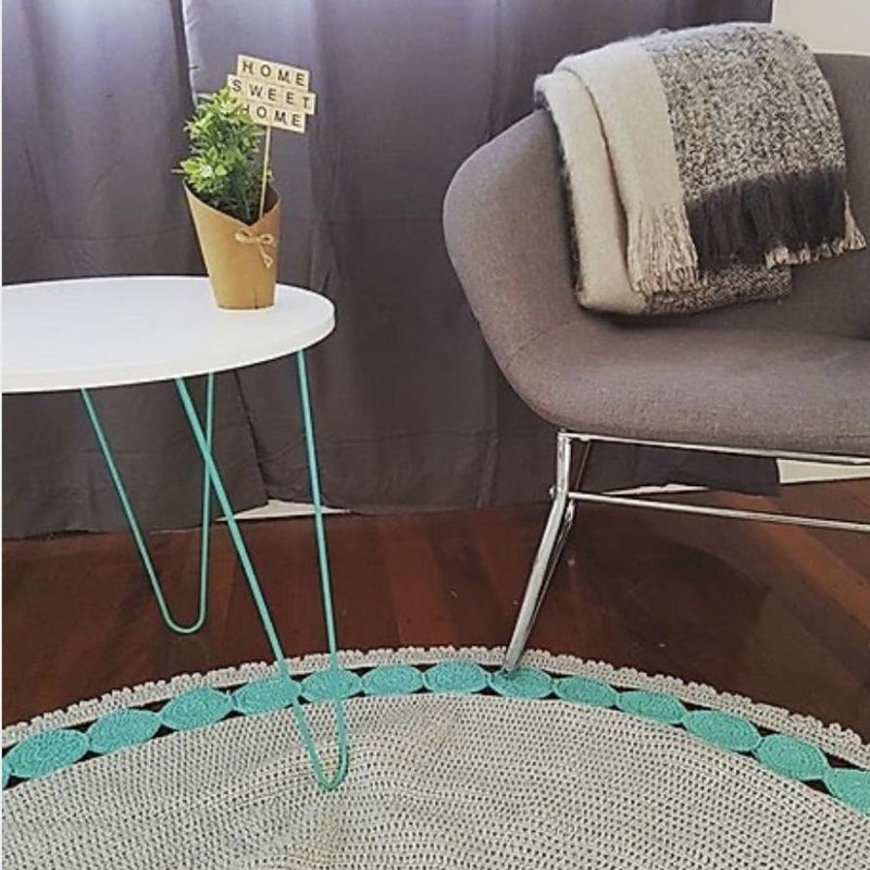 Two Tone Crochet Rug - Turquoise & Soft Grey