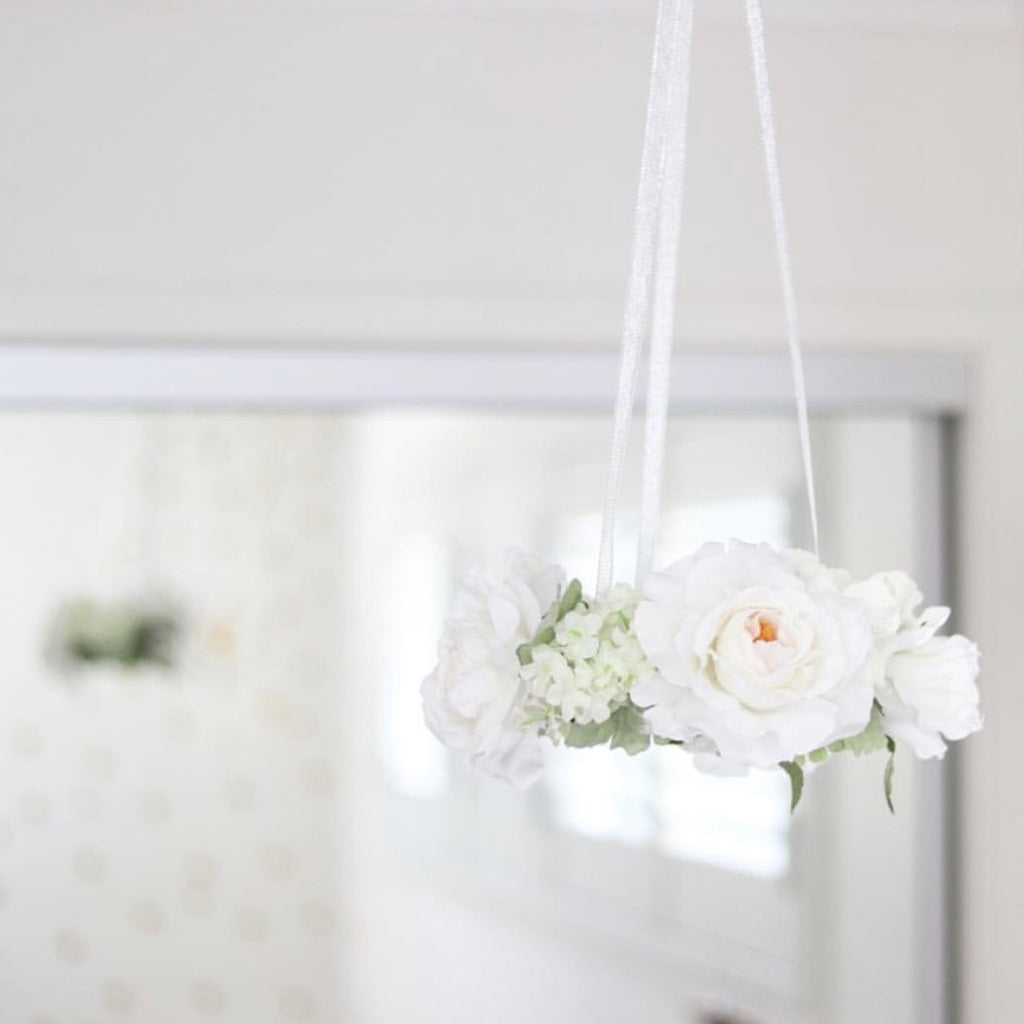 Floral Mobile - White with Greenery