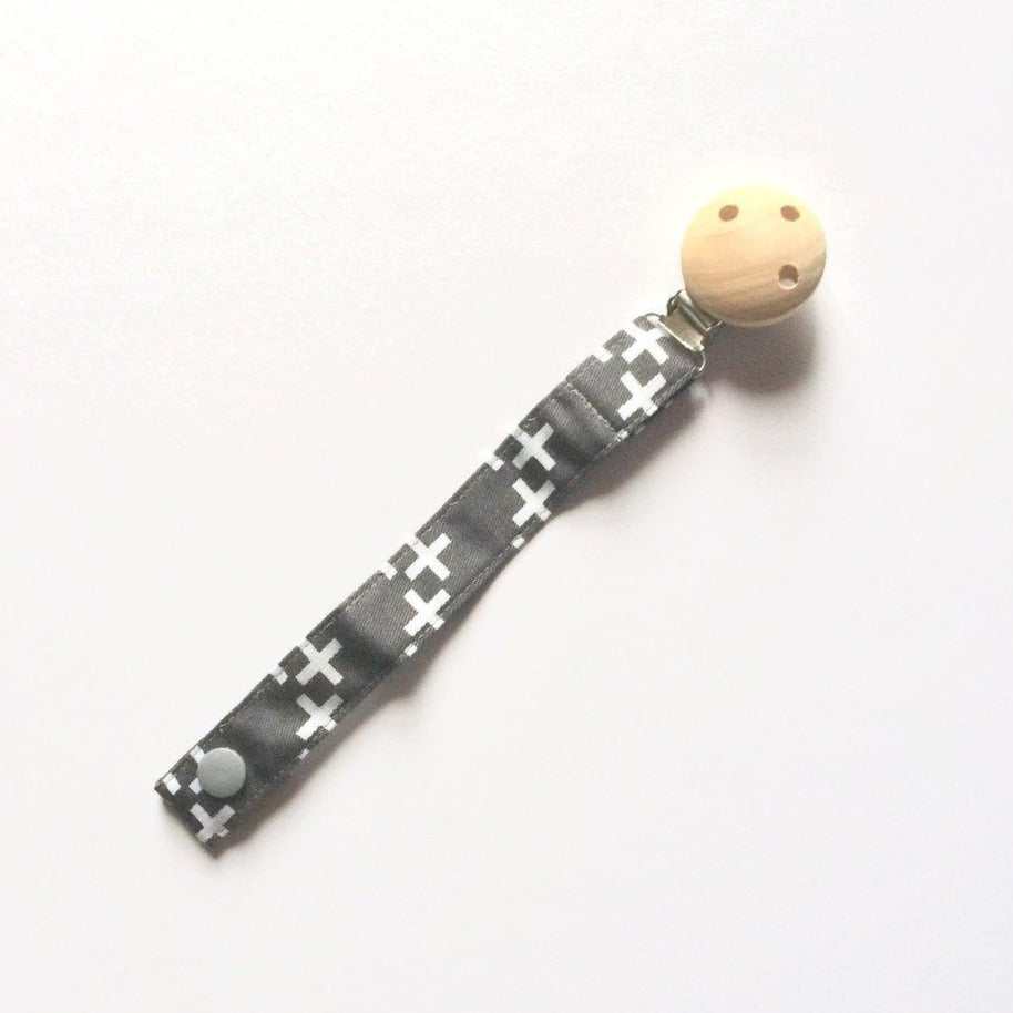 Dummy Clip Fabric - Grey & White Crosses