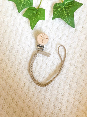 Faux Leather Dummy Clip - Beige with Tree Leaves