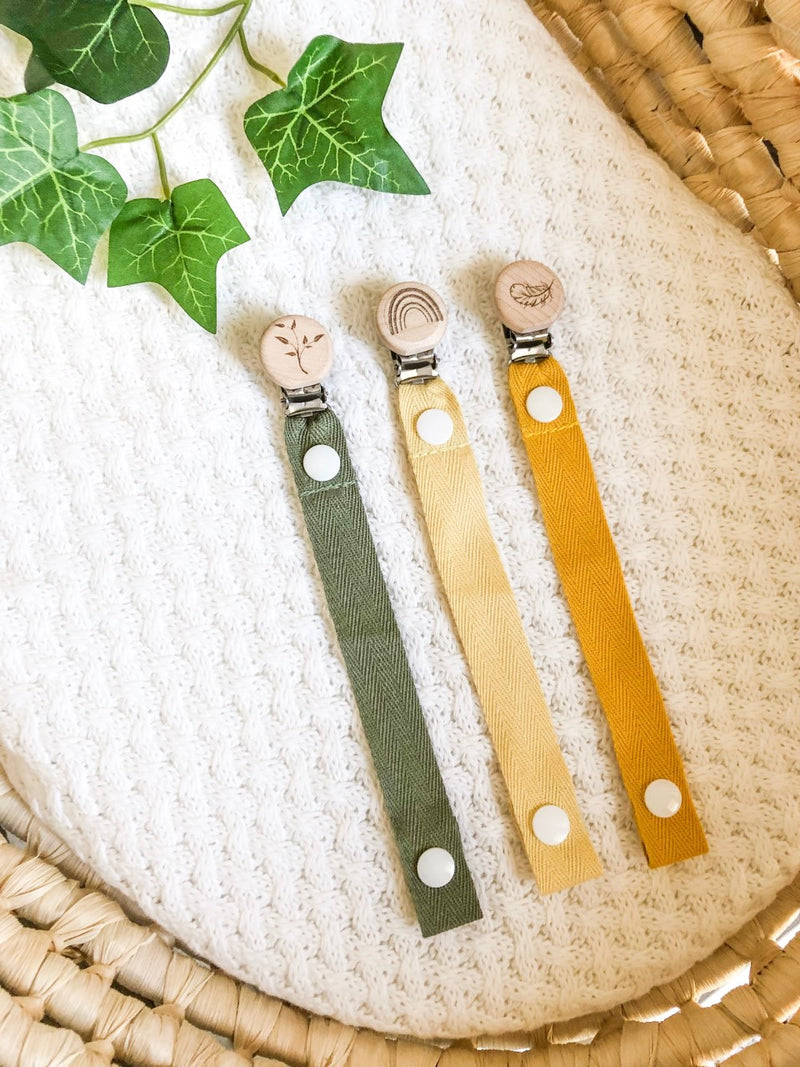 Cotton Dummy Clip - Khaki with Tree Leaves
