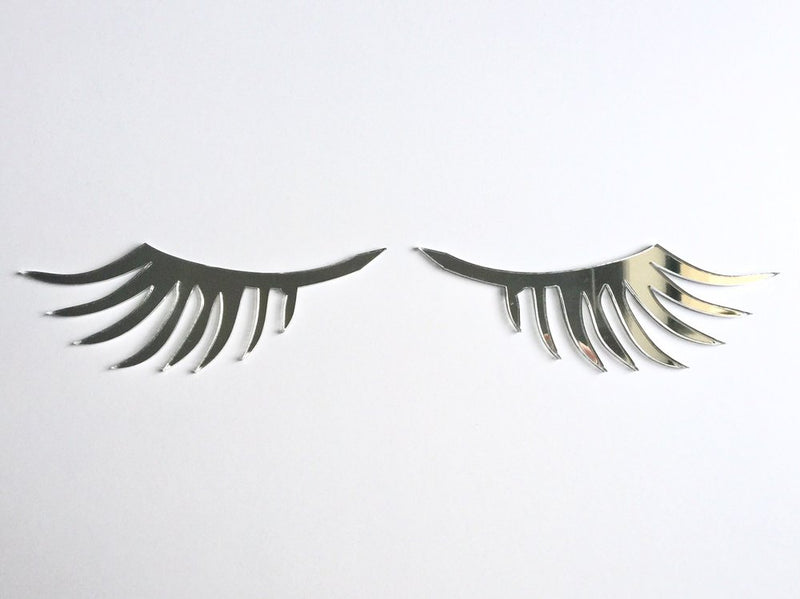 Eyelash Wall Decals - Mirrored Silver (Set of 2)