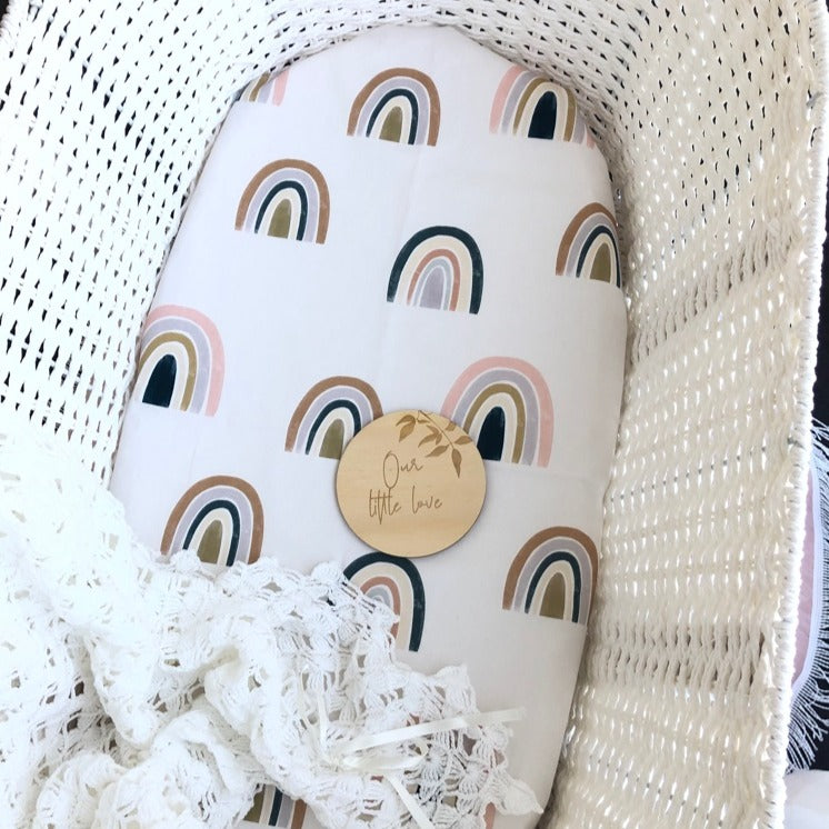 Moses Basket Fitted Sheet - Pastel Rainbows