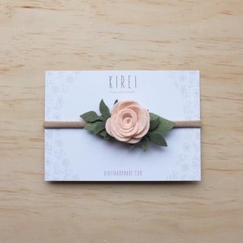 Felt Rose Headband - Neutral Pink