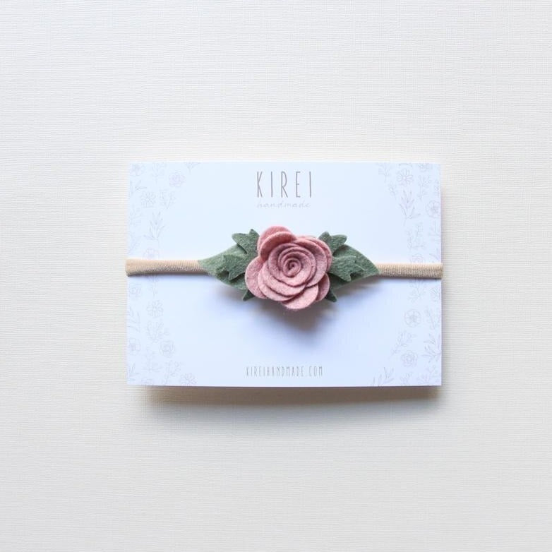 Felt Rose Headband - Rose Smoke