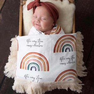 Fringed or No Fringe Organic Cotton Wrap - Rainbow