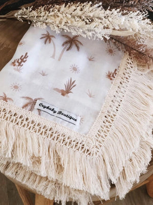 Fringed Organic Cotton Wrap - Desert Palms