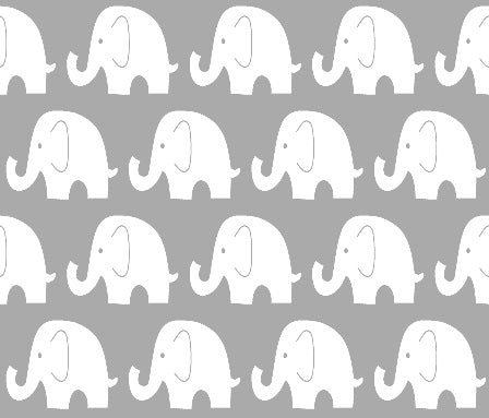 Custom Fabric - Grey Jumbo Elephants