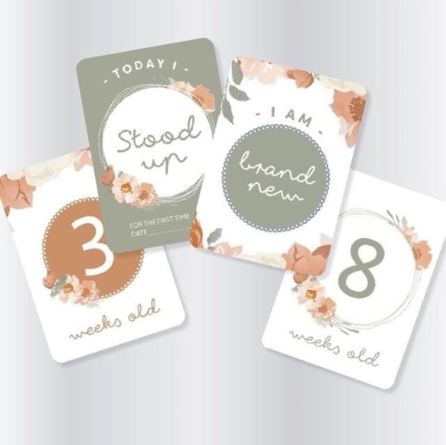 Baby Milestone Cards - Neutral Florals