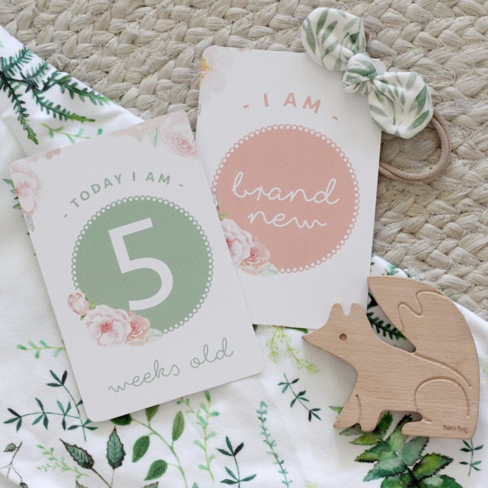 Baby Milestone Cards - Peaches & Green
