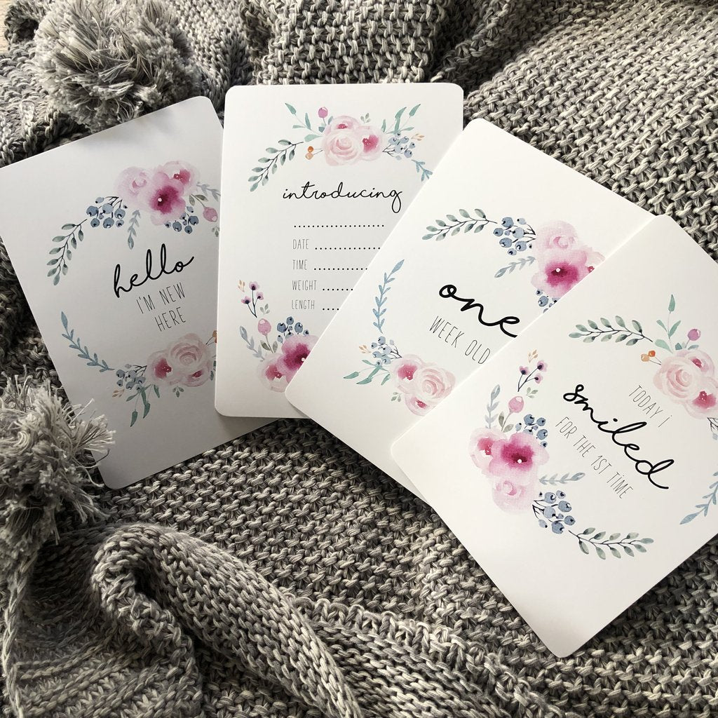 Baby Milestone Cards - Pastel Floral