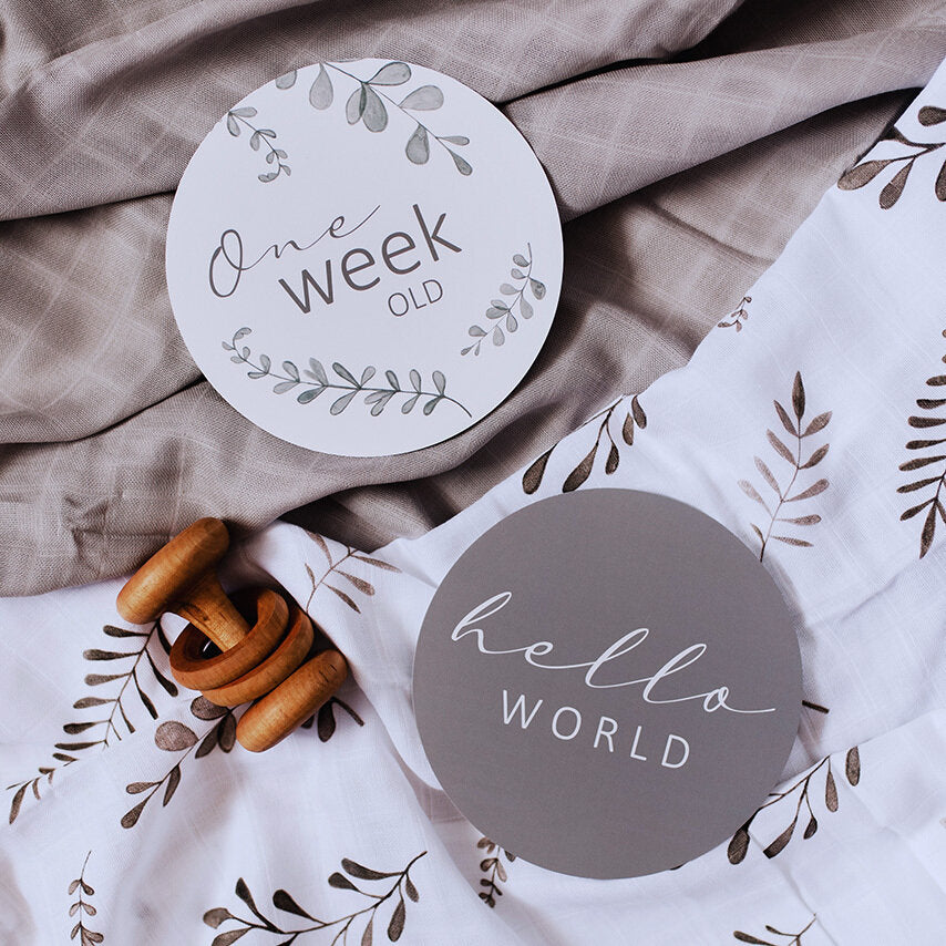 Reversible Milestone Cards - Wild Ferns & Grey