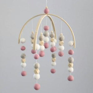 Felt Ball Mobile - Dusty Pink, Pebble, White, Raw Hex (IN STOCK)