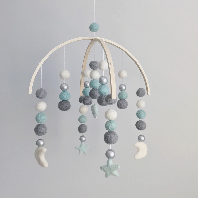 Felt Ball Mobile - Dark Grey, Mint, Silver, White, Heart/Stars/Moons (2 WEEKS TURNAROUND TIME)