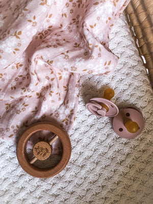 Organic Cotton Muslin Wrap - Golden Blush