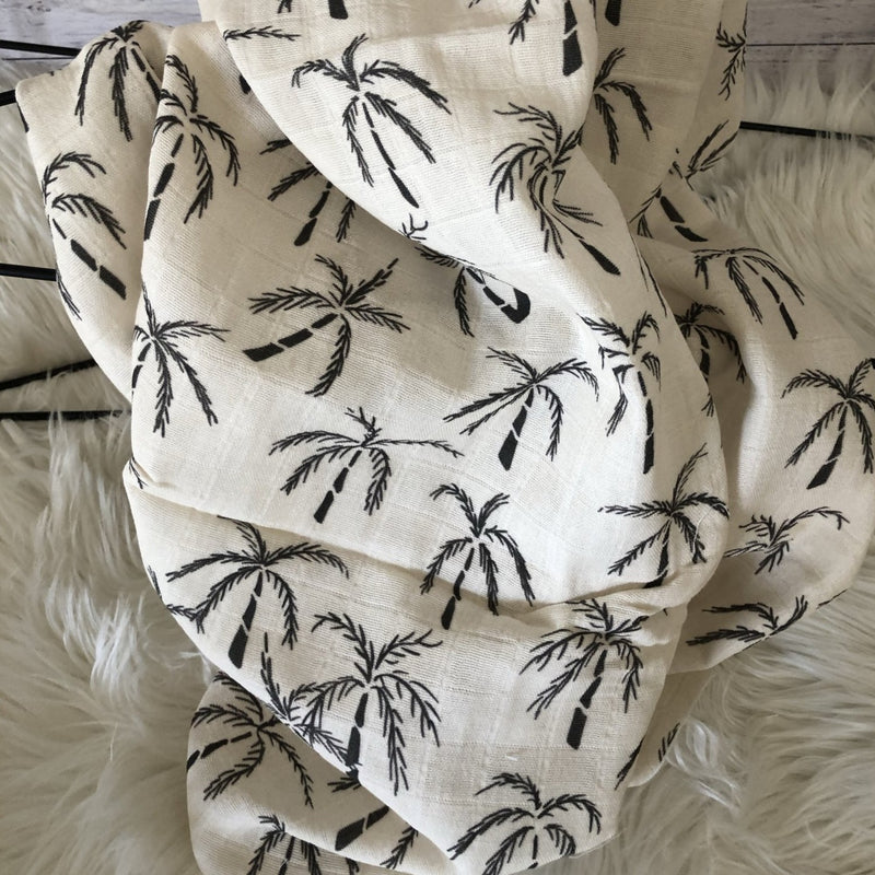 Organic Cotton Muslin Wrap - Nude Palms