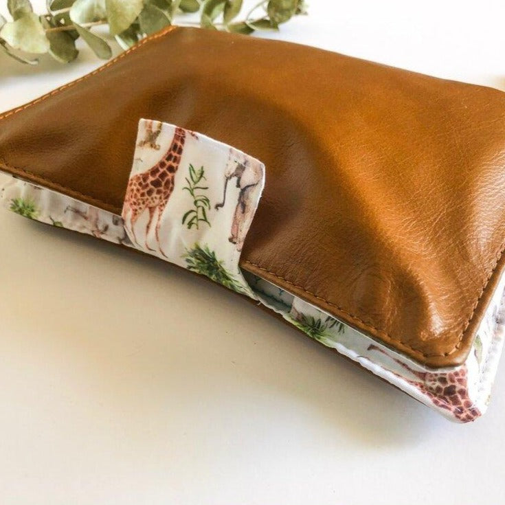 Deluxe Leather Nappy Wallet - Safari