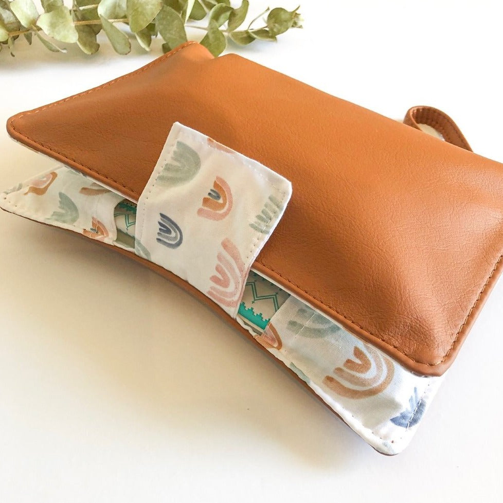 Deluxe Leather Nappy Wallet - Watercolour Rainbows