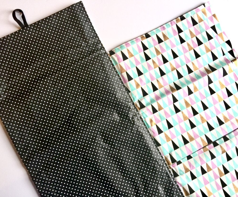 Nappy Wallet with Mat - Pink/Mint Triangles