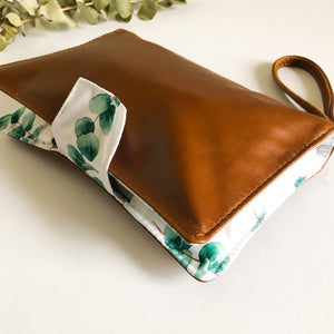 Deluxe Leather Nappy Wallet - Eucalyptus Grove