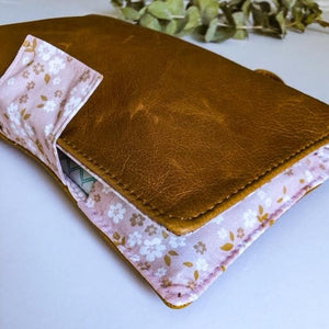 Deluxe Leather Nappy Wallet - Golden Blush