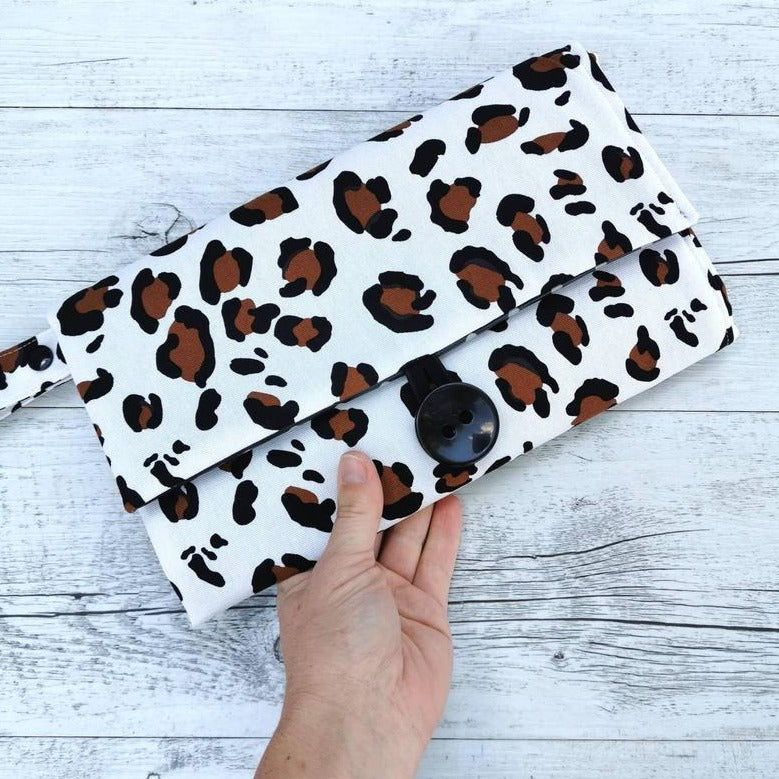 Nappy Wallet with Mat - Brown Leopard Print