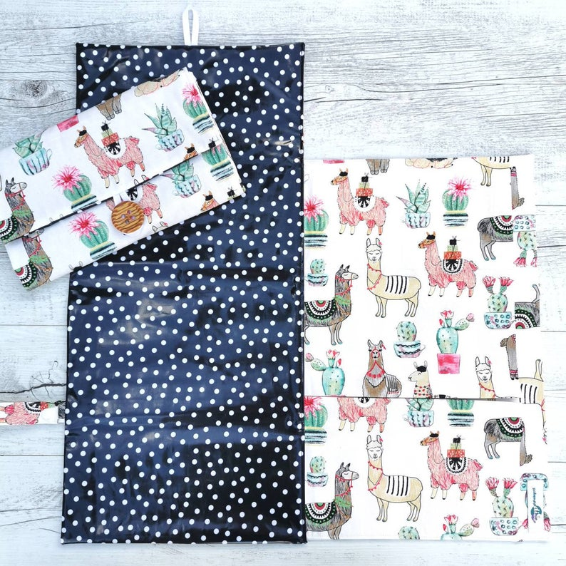Nappy Wallet with Mat - Llamas on White