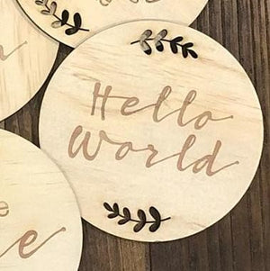Timber Plaque - Hello World