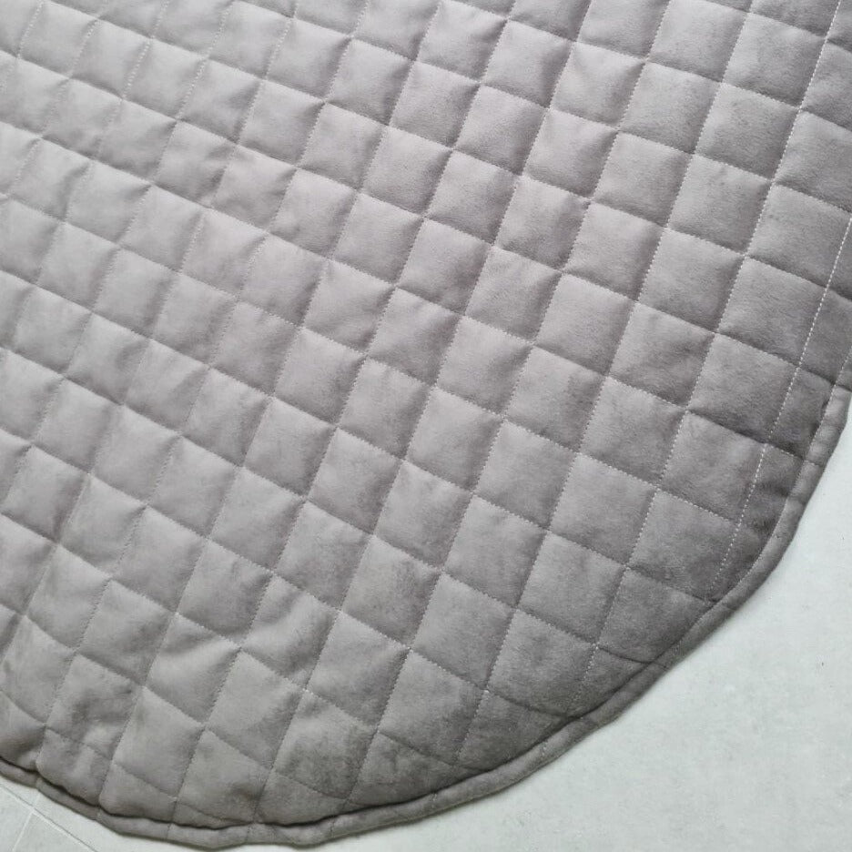 Playmat Round Large - Luxe Quilted Diamond Velvet - Stone  (2-3 WEEKS TURNAROUND)