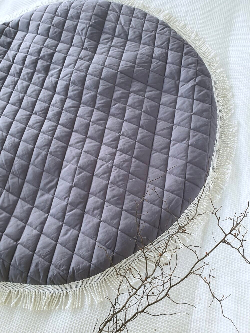 Playmat Round Large - Luxe Quilted Diamond - Dove White (IN STOCK) or Charcoal Grey (2-3 WEEKS TURNAROUND)