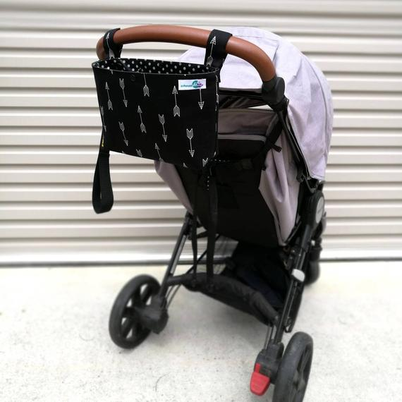 Pram Caddy - Black with White Arrows