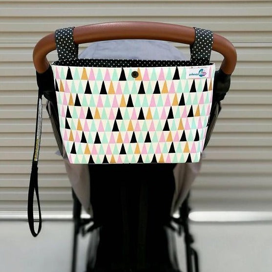 Pram Caddy - Pink/Mint Triangles