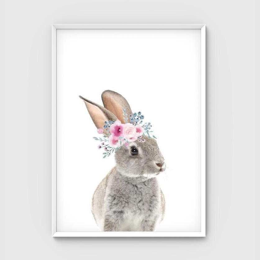 Print - Flower Crown Bunny - Pastel